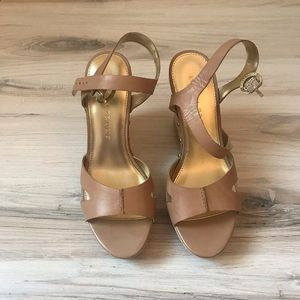 Ivanka Trump Leather Wedges - Tan